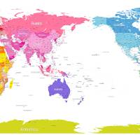Continents World Map Art Prints & Posters by Michael Tompsett