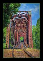 IMG_7955 Old Train Bridge Painting Green Border