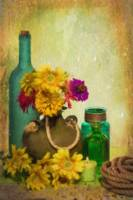 7794PS Yellow Flower-Glass Arrangement Painting