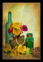 7794PS Yellow Flower-Glass Still Life Painting