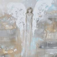 """With Courage in Her Heart - Angel Painting"" by ChristineKrainock"