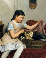 Girl With Cats by Albert Anker
