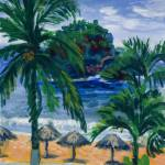"""Beach, Palms and Palapas in Huatulco Mexico Print"" by KeatingArt"