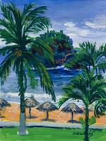 Beach, Palms and Palapas in Huatulco Mexico Print