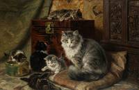 Henriette Ronner-Knip (1821-1909) A cat and her ki