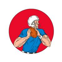 American Football Quarterback Ready Throw Ball Cir