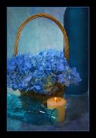 7407PS Blue Flower Arrangement Still Life Painting