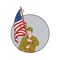 American Soldier Holding USA Flag Circle Drawing