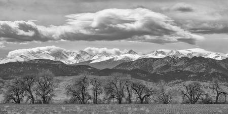 Monochrome Rocky Mountain Front Range Panorama