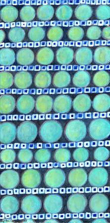 Rows of Blue Iridescent Circles Pattern
