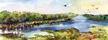 Summer Landscape River Panorama Watercolor