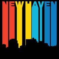 Retro 1970's Style New Haven Connecticut Skyline