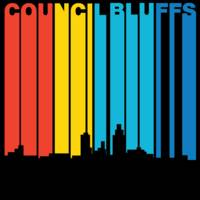 Retro 1970's Style Council Bluffs Iowa Skyline