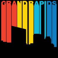 Retro 1970's Style Grand Rapids Michigan Skyline