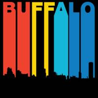Retro 1970's Style Buffalo New York Skyline