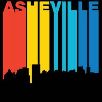 Retro 1970's Style Asheville North Carolina Skylin