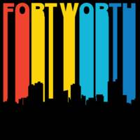 Retro 1970's Style Fort Worth Texas Skyline