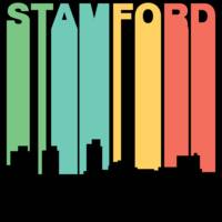 Retro 1970's Style Stamford Connecticut Skyline