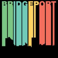 Retro 1970's Style Bridgeport Connecticut Skyline