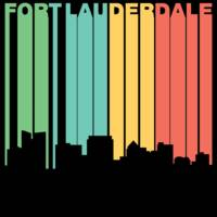 Retro 1970's Style Fort Lauderdale Florida Skyline