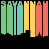 Retro 1970's Style Savannah Georgia Skyline
