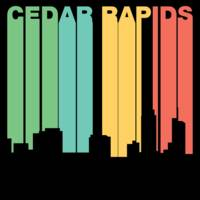 Retro 1970's Style Cedar Rapids Iowa Skyline