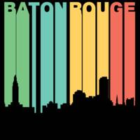 Retro 1970's Style Baton Rouge Louisiana Skyline