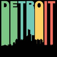 Retro 1970's Style Detroit Michigan Skyline