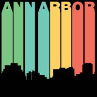 Retro 1970's Style Ann Arbor Michigan Skyline