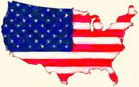 Abstract  US Flag in USA  Map