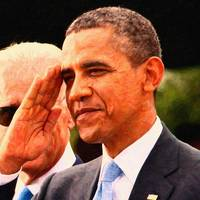 Abstract Portrait of President Barack Obama salute