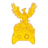 Phoenix Rising Fiery Flames Over Game Controller D