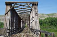 Wooden Trestle Bridge in East Coulee, Alberta