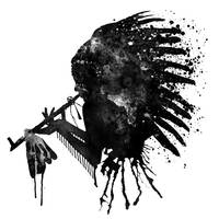 Indian With Headdress Black And White Silhouette