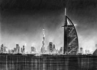 Dubai Cityscape Drawing
