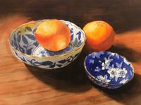 Oranges with blue ware