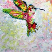 Hummingbird Modern Impressionist Oil Painting Art Prints & Posters by Ginette Callaway
