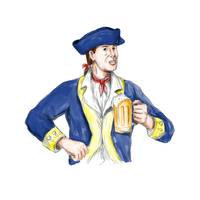 American Patriot Holding Beer Mug Toast Watercolor