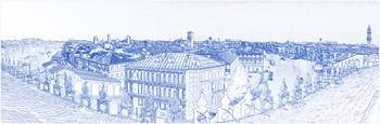 Blueprint drawing of  Venice City Panorama