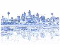 Blueprint Drawing of Ancient Angkor Antique Archeo