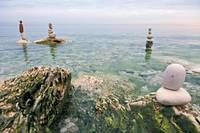 Zen balanced stones on the sea
