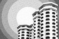 Dotted drawing of Architecture Building High-Rise