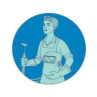Female Welder Acetylene Welding Torch Mono Line Art Prints & Posters by aloysius patrimonio