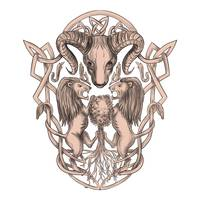 Bighorn Sheep Lion Tree Coat of Arms Celtic Knotwo