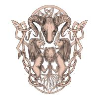 Bighorn Sheep Lion Tree Coat of Arms Celtic Knotwo Art Prints & Posters by aloysius patrimonio