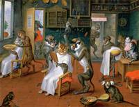Barbershop With Monkeys And Cats by Abraham Tenier