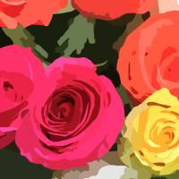 Bright Cartoon Roses Art Prints & Posters by Through The Split Window