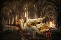 Lady Angel Lying in Castle
