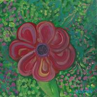 JOHNKEATONARTCrimsob Flower on Green JOHNKEATONART
