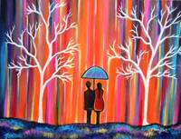 Colors of Love romantic colorful rainy painting